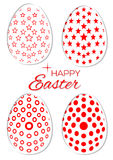 Set of stylish Easter eggs on a white background. Collection of Easter eggs with different patterns Royalty Free Stock Photos