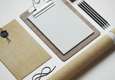 Set of stylish elements on white paper background. 3d render Royalty Free Stock Photos