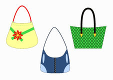 Set of stylish female handbags Royalty Free Stock Photography