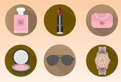Set of stylish flat icons for fashion vector illustration