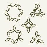 Set of stylish floral monogram Stock Photography