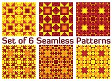 Set of 6 stylish geometric seamless patterns with triangles and. Set of 6 abstract stylish geometric seamless patterns with triangles and squares of yellow Royalty Free Stock Photo