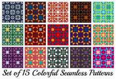 Set of 15 stylish geometric seamless patterns with triangles and squares of different colors Stock Image