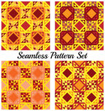 Set of 4 stylish geometric seamless patterns with triangles and squares of yellow, burgundy, cherry, and orange shades Royalty Free Stock Photo