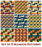 Set of 9 stylish geometric seamless patterns with windmill, circle, rectangle, square and triangle shapes of blue, golden, orange, Stock Images