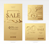 Vector set of stylish golden sale banners of different sizes with bow, frame and ribbon.. Template for discount offers and promotion design on the website Stock Images