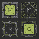 The set of stylish graceful monogram emblem templates. Vector illustration. Royalty Free Stock Photography