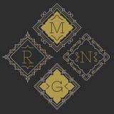 The set of stylish graceful monogram emblem templates. Vector illustration. Royalty Free Stock Photos