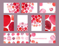 Set of stylish hand-drawn raster business cards and banners, based on red and pink brush smears and dyes. Horizontal and vertical Stock Images