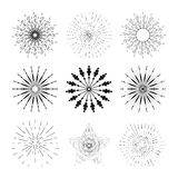 Set of stylish hand drawn retro sunburst. Collection of elements for design. Stock Photography