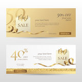 Vector set of stylish horizontal banners with paper shopping bag, golden bow and ribbon. Royalty Free Stock Photography