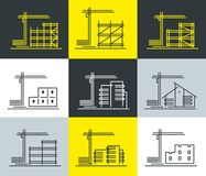 A set of stylish icons on the topic of various construction. As well as administrative buildings. Vector graphics Royalty Free Stock Photography