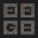 The set of stylish monogram emblem. Letters E, F, G, H. Vector illustration. Stock Photos