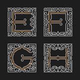 The set of stylish monogram emblem. Letters E, F, G, H. Vector illustration. Stock Photos