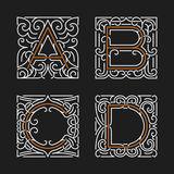 The set of stylish monogram emblem templates. Letters A, B, C, D. Vector illustration. Stock Photos