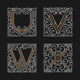The set of stylish monogram emblem templates. Letters U, V, W, X. Vector illustration. Stock Image