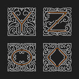 The set of stylish monogram emblems. Letters Y, Z. Vector illustration. Stock Image