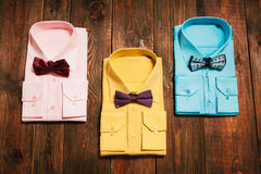 Set  of stylish new bright men's shirts Royalty Free Stock Photos