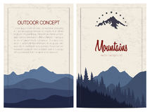Set of stylish outdoor cards with mountains. Vector backgrounds. Royalty Free Stock Image
