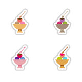 Set stylish paper stickers balls of ice cream Royalty Free Stock Image