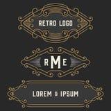 The set of stylish retro logo and emblem templates. Stock . Royalty Free Stock Photography