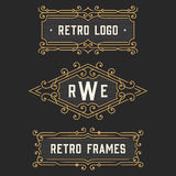 The set of stylish retro logo and emblem templates. Stock . Stock Images