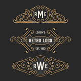 The set of stylish retro logo and emblem templates. Stock vector. Stock Photos