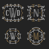 The set of stylish retro monogram emblem templates. In trendy outline style on the dark background. Vintage business sign, identity, label for hotel, cafe stock illustration