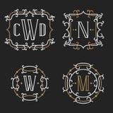 The set of stylish retro monogram emblem templates Stock Images