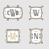 The set of stylish retro monogram emblem templates. In trendy outline style on the light background. Vintage business sign, identity, label for hotel, cafe stock illustration