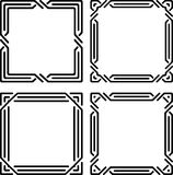 Set of 4 stylish rich decorated square decorative frames in mono Stock Photography