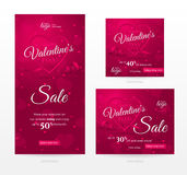 Vector set of stylish sale banners of different sizes for Happy Valentine`s day. Set of stylish sale banners of different sizes for Happy Valentine's day Royalty Free Stock Photo