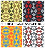 Set of 4 stylish seamless patterns with decorative ornament of blue, red, golden, white, yellow and black shades. Set of 4 abstract stylish seamless patterns Stock Images