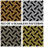 Set of 4 stylish seamless patterns with golden, silver and bronze fractal ornament on black background Royalty Free Stock Image