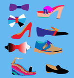 Set of stylish shoes and bow ties. Set of women`s shoes, men`s shoes and bowties on blue background Stock Photos