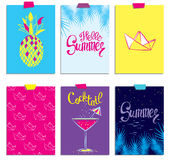 A set of stylish summer cards. Pineapple, cocktail, paper boat and palm branches in vector. Summer inscriptions. Lettering. Royalty Free Stock Image