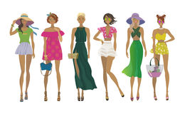 Set of stylish summer girls.Fashion models. Royalty Free Stock Image