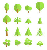 Set of stylish trees, flat design Stock Image