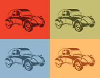 Set of stylish vector picture vintage cars four colors Stock Image