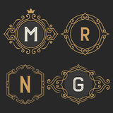 The set of stylish vintage monogram emblem and logo templates. Stock Images