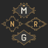 The set of stylish vintage monogram emblem and logo templates. Stock Photography