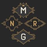 The set of stylish vintage monogram emblem and logo templates. Stock Photography