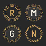 The set of stylish vintage monogram emblem and logo templates. Royalty Free Stock Images