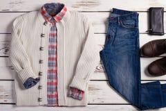 Set of stylish winter men's clothing. Stock Photos
