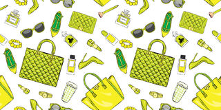 Set of stylish women`s accessories. Vector illustration for a card or poster. Print on clothes. Royalty Free Stock Image