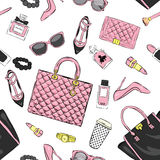 Set of stylish women`s accessories. Vector illustration for a card or poster. Print on clothes. Royalty Free Stock Photography
