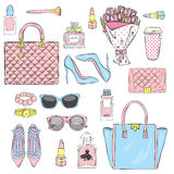 Set of stylish women`s accessories. Vector illustration for a card or poster. Print on clothes. Fashion & Style. Stock Photography