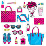 Set of stylish women`s accessories. Vector illustration for a card or poster. Print on clothes. Fashion & Style. Royalty Free Stock Photos