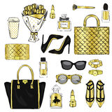 Set of stylish women`s accessories. Vector illustration for a card or poster. Print on clothes. Fashion & Style. Royalty Free Stock Photo