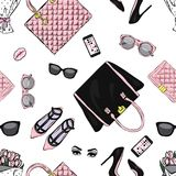 Set of stylish women`s accessories. Vector illustration for a card or poster. Print on clothes. Fashion & Style. Background. stock illustration